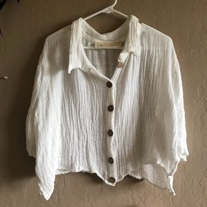 Jen's pirate booty button up shirt white new
